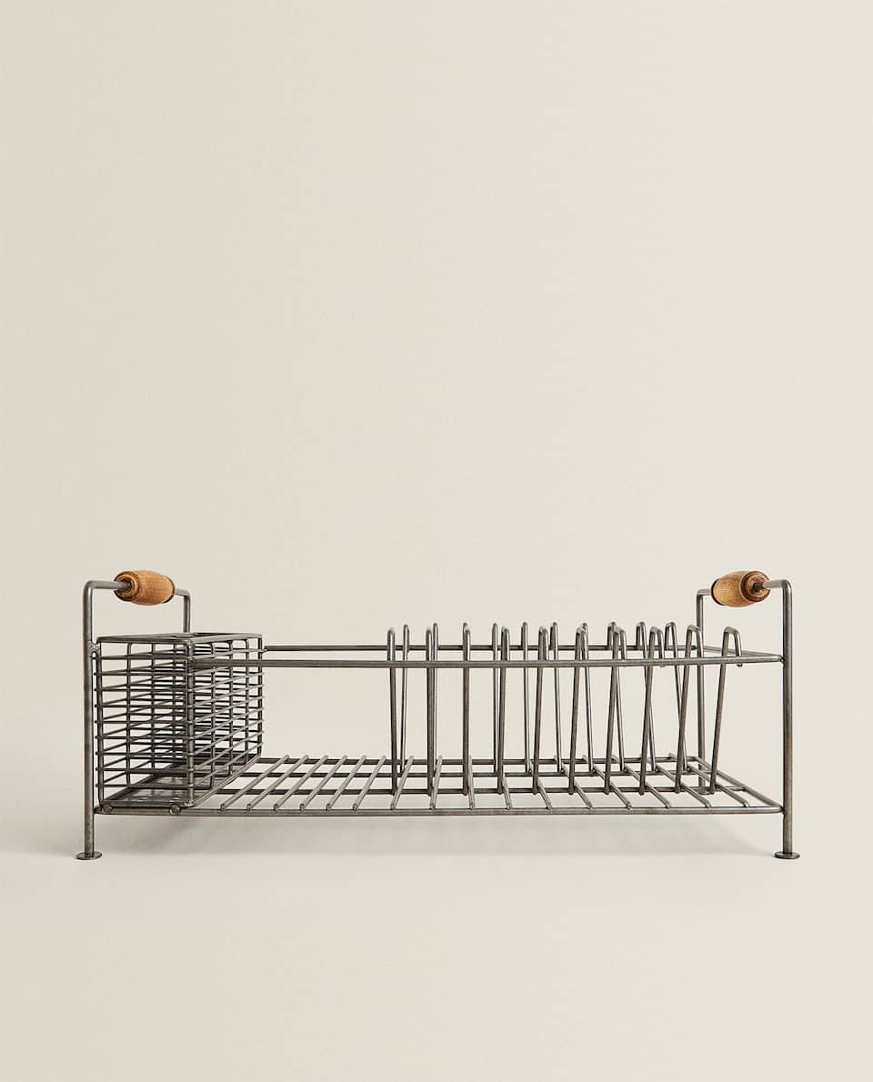 IRON AND ACACIA WOOD DRYING RACK