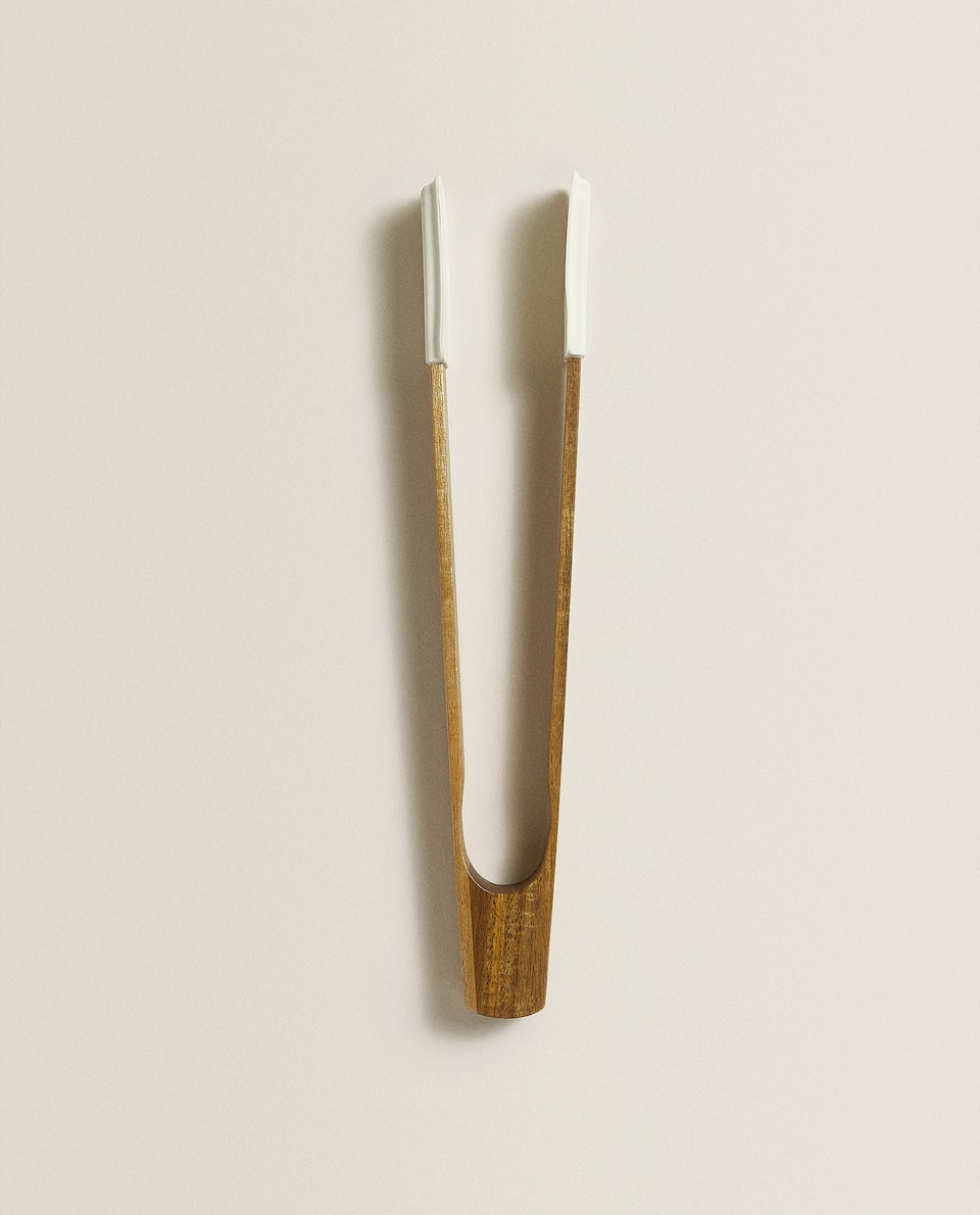 SILICONE AND WOODEN TONGS