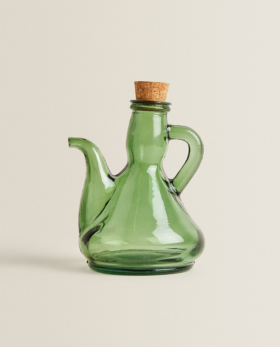 GLASS AND CORK CRUET