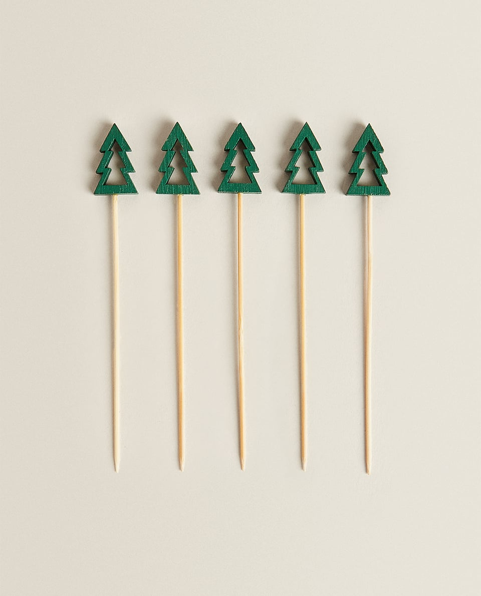 DECORATIVE TREE-SHAPED COCKTAIL STICKS (PACK OF 10)
