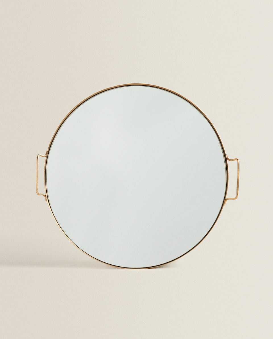 ROUND MIRRORED TRAY WITH HANDLES