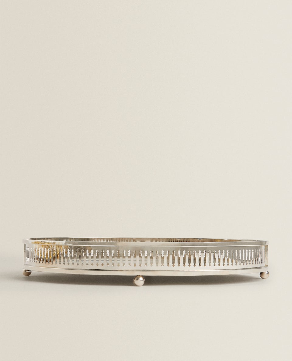 OVAL METAL AND MIRROR TRAY