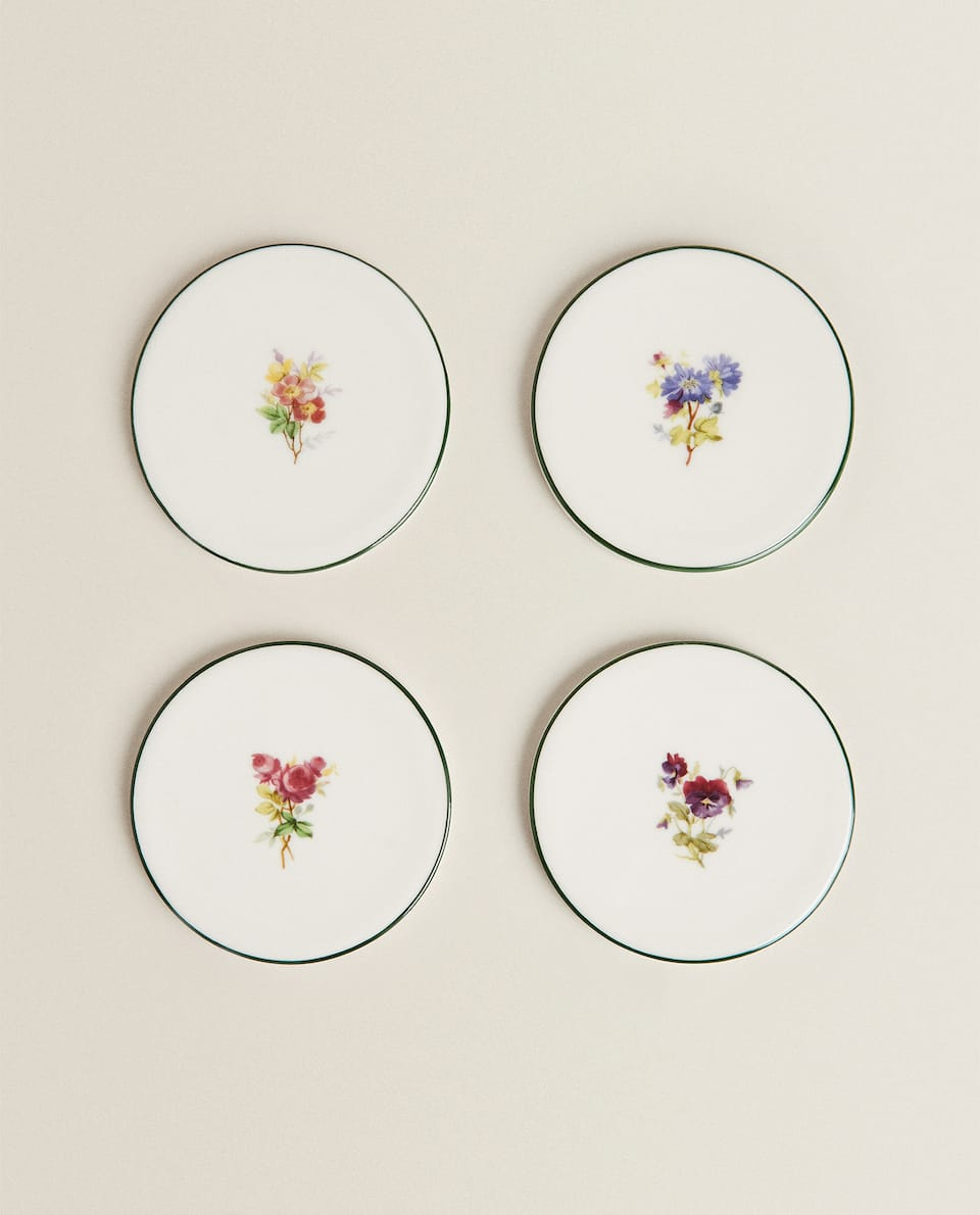 PORCELAIN FLORAL COASTER (PACK OF 4)