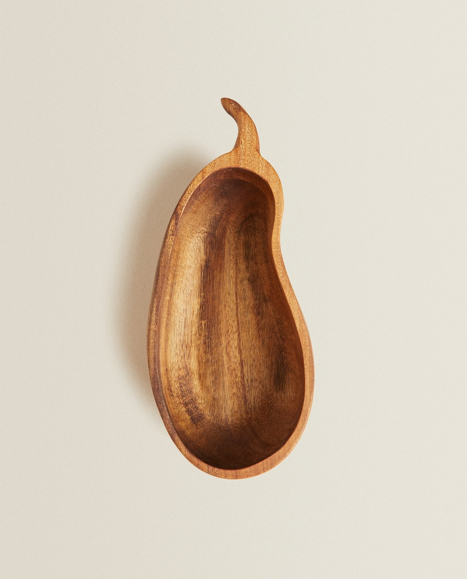 AUBERGINE-SHAPED WOODEN BOWL
