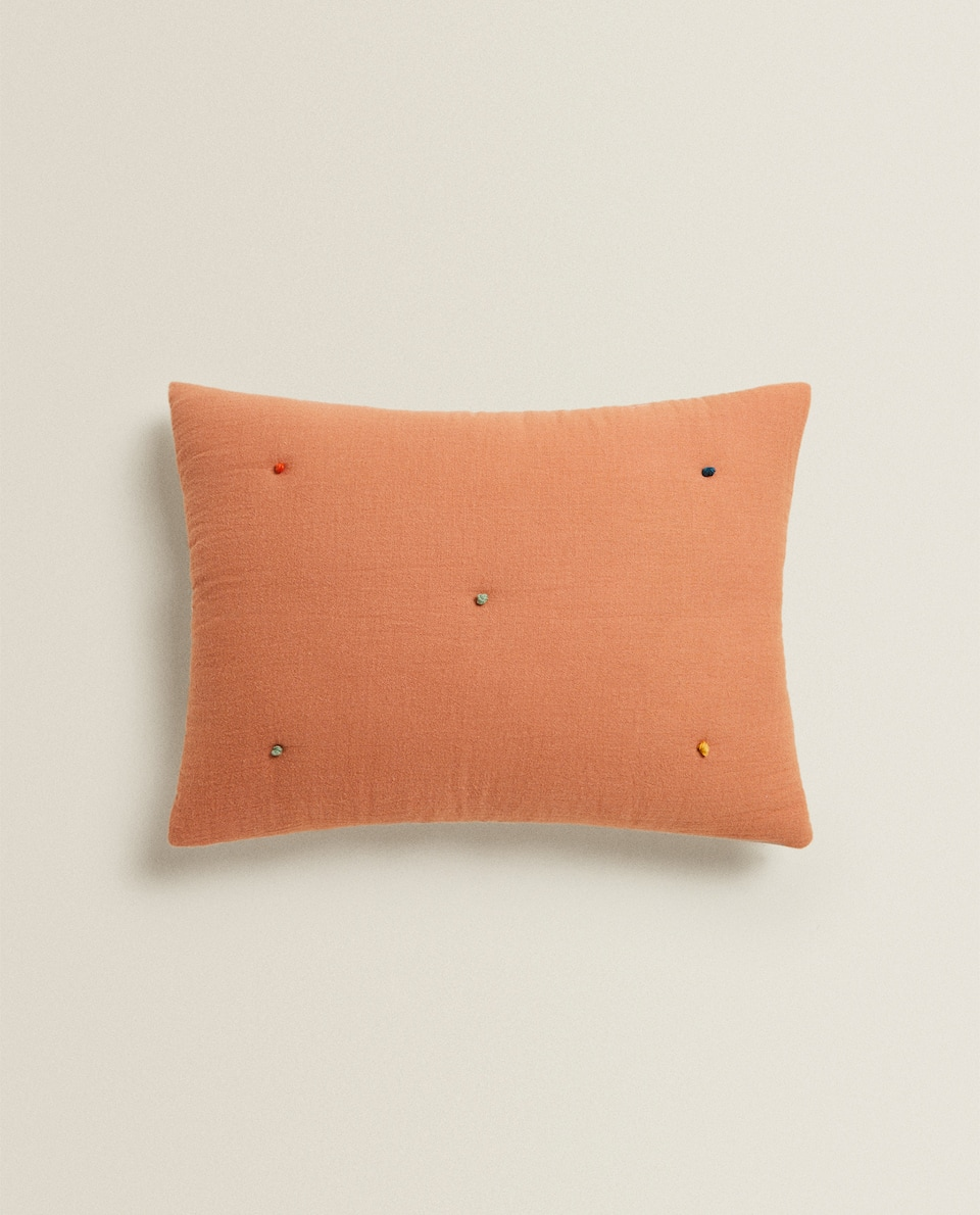 KNOTTED MUSLIN CUSHION COVER