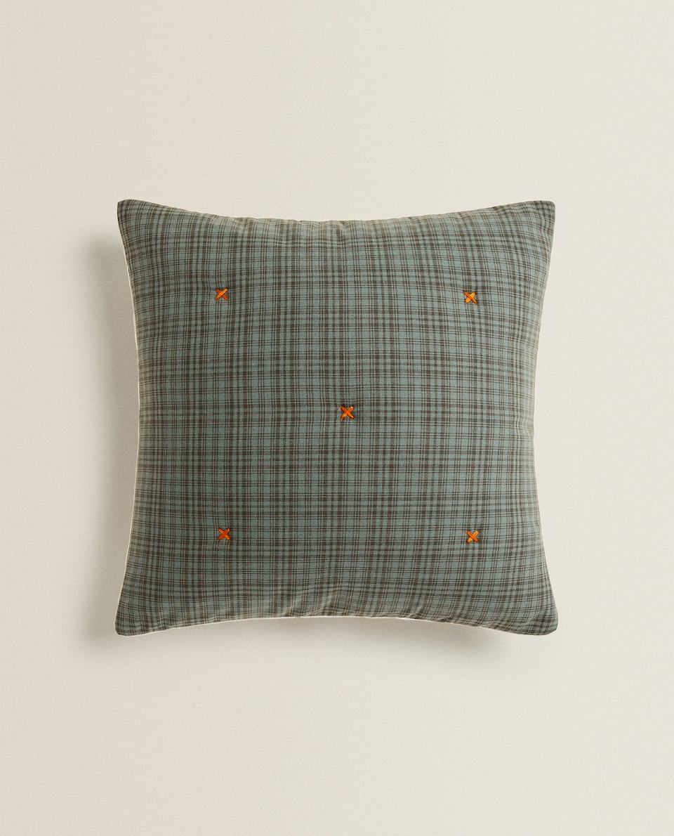 CHECK CUSHION COVER