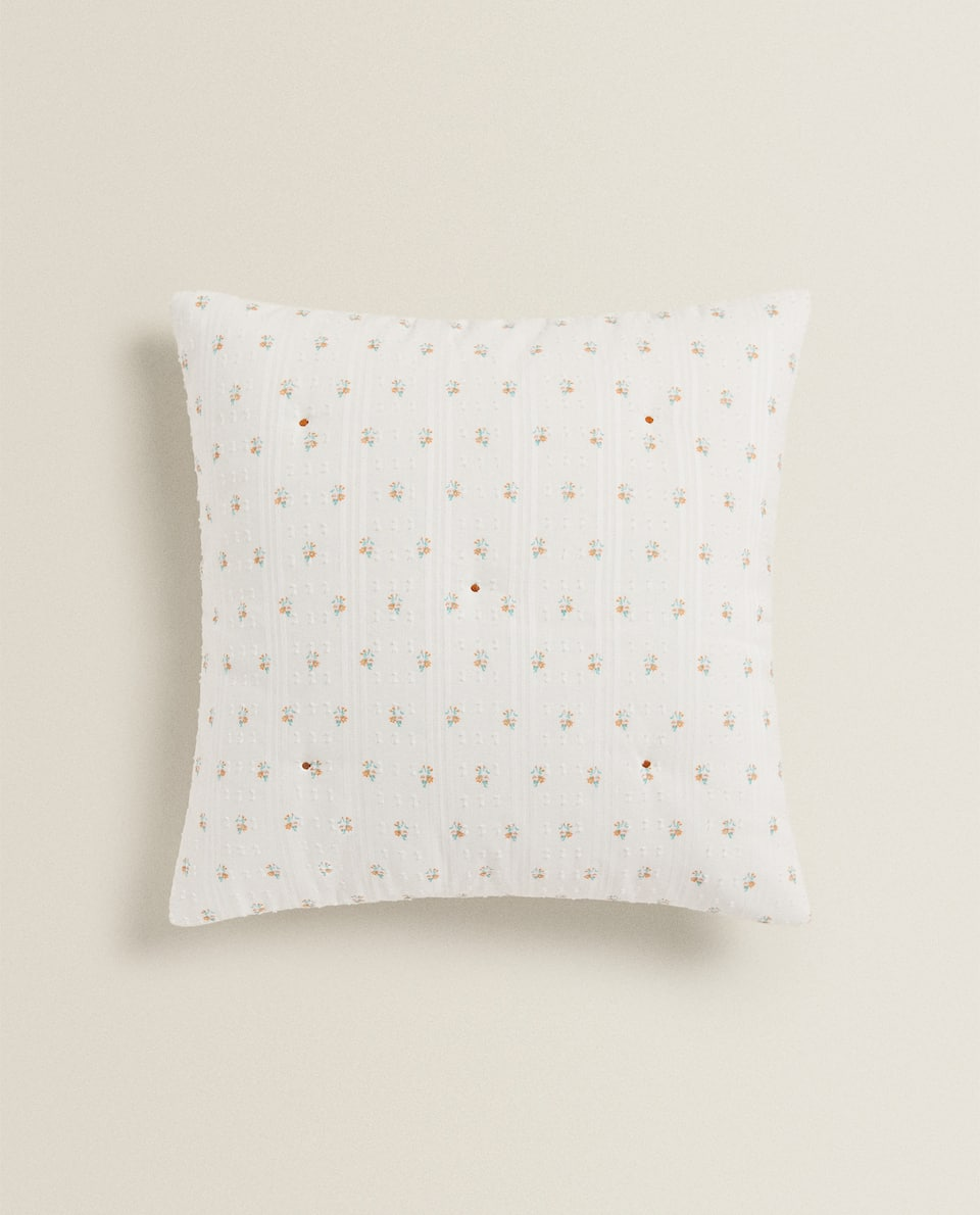 FLORAL PRINT DOTTED MESH CUSHION COVER