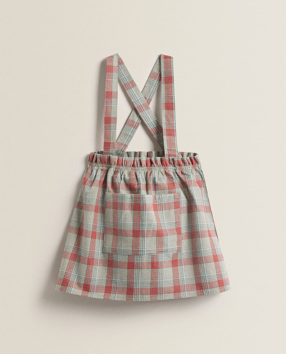 PLAID COTTON PINAFORE DRESS