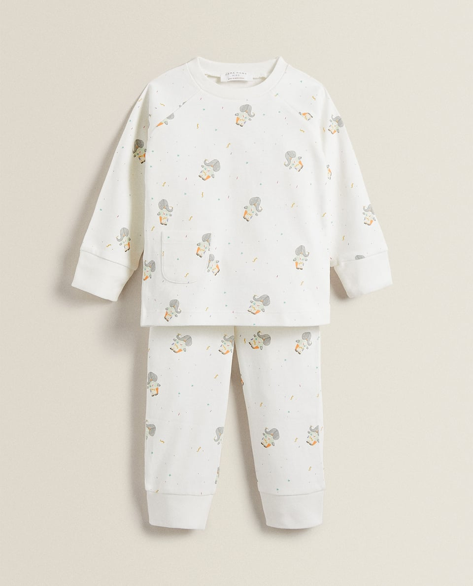 ELEPHANT PRINT COTTON PYJAMAS