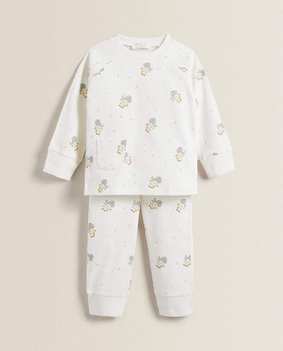 ゾウプリント入りコットン製パジャマセット