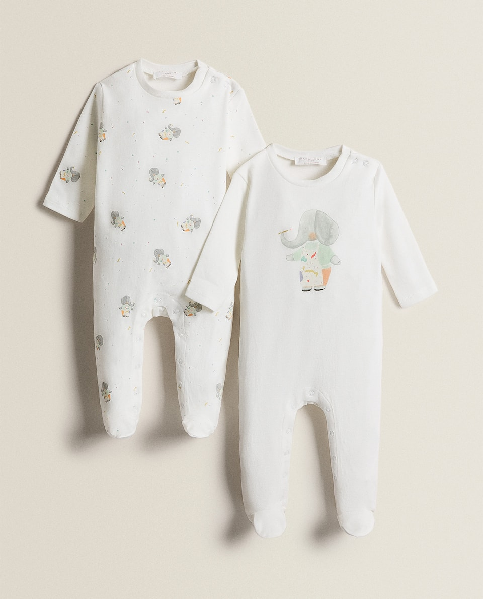 ELEPHANT PRINT ROMPER SUIT (PACK OF 2)