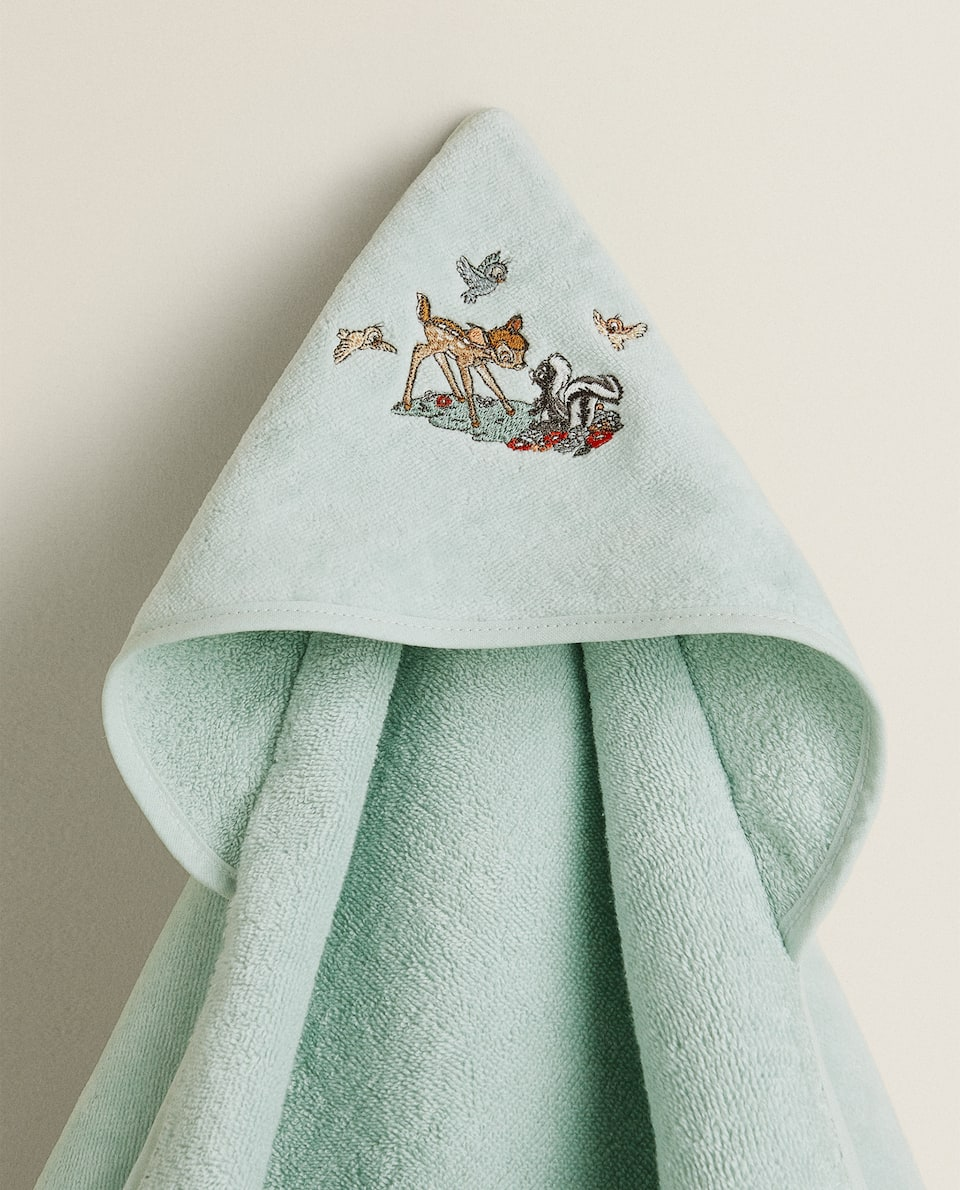 COTTON HOODED TOWEL WITH BAMBI DESIGN