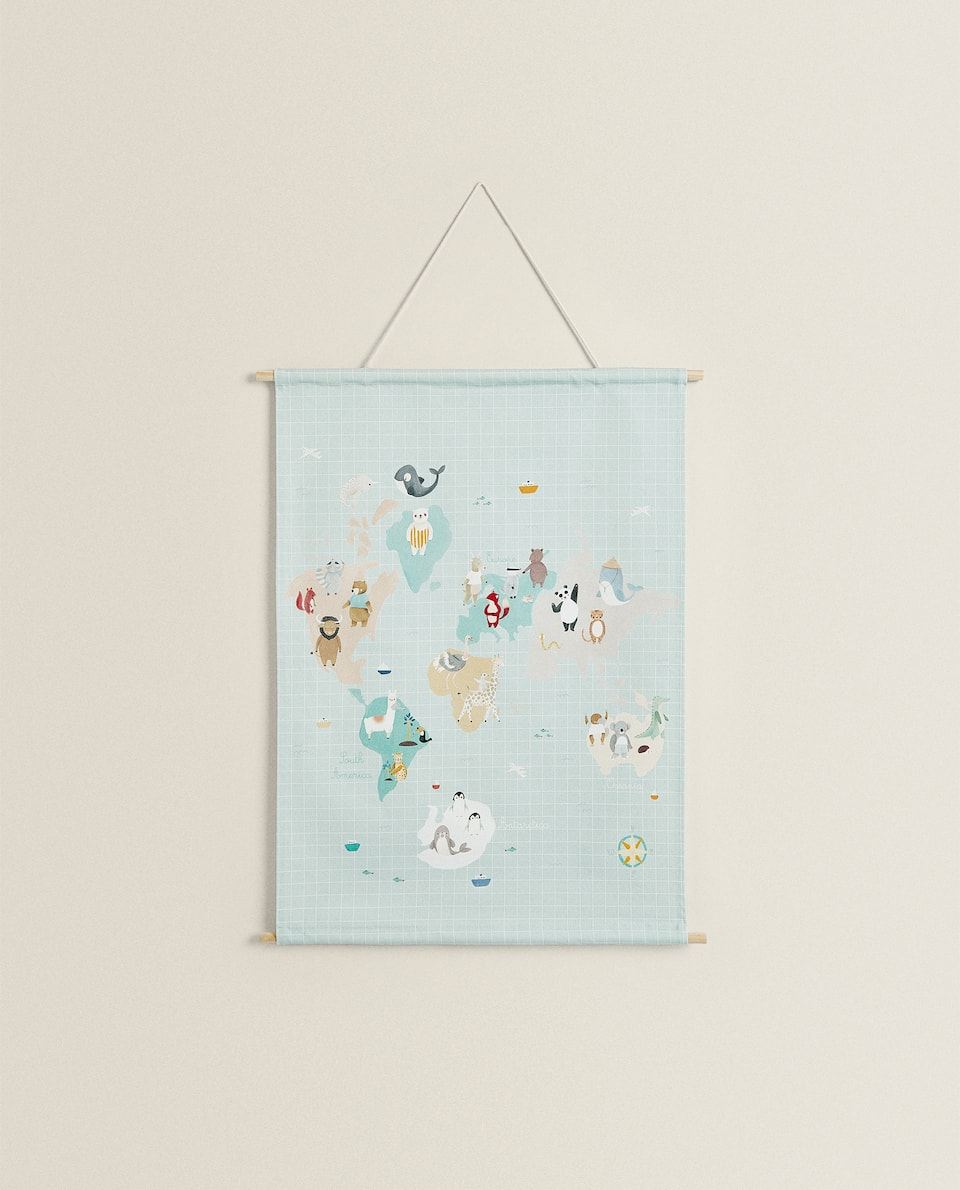 FABRIC WORLD MAP POSTER WITH ANIMALS