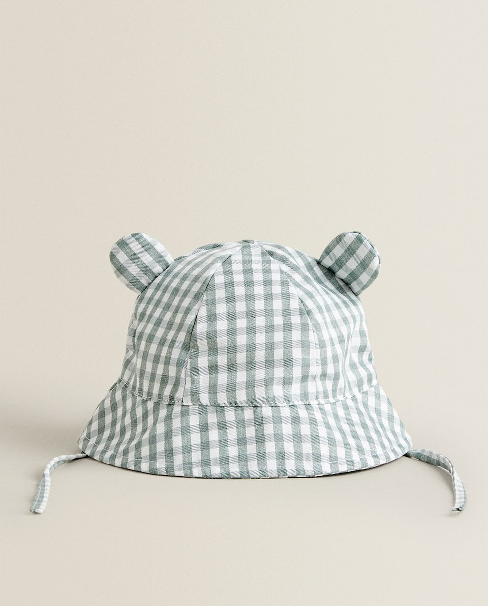 GINGHAM HAT WITH EARS