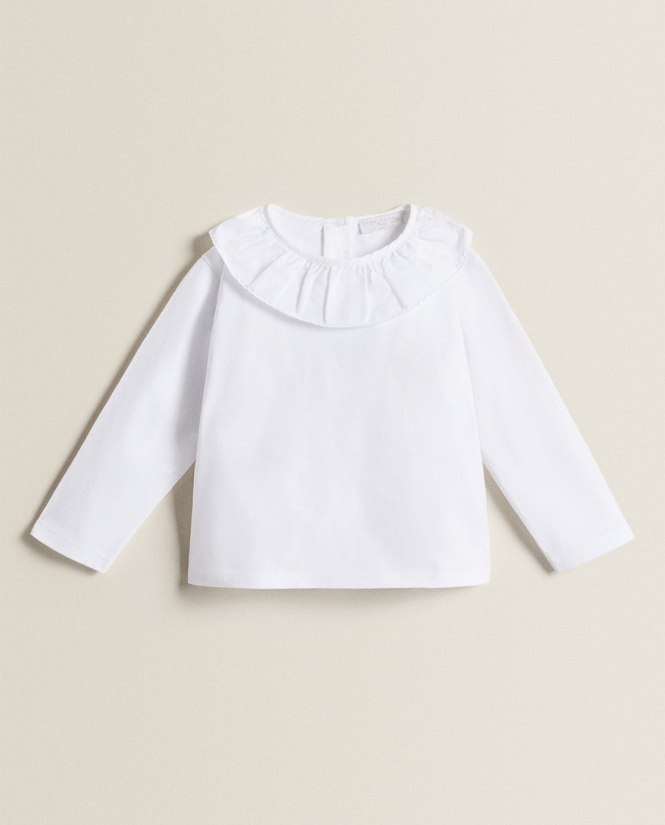 T-SHIRT WITH POPLIN COLLAR
