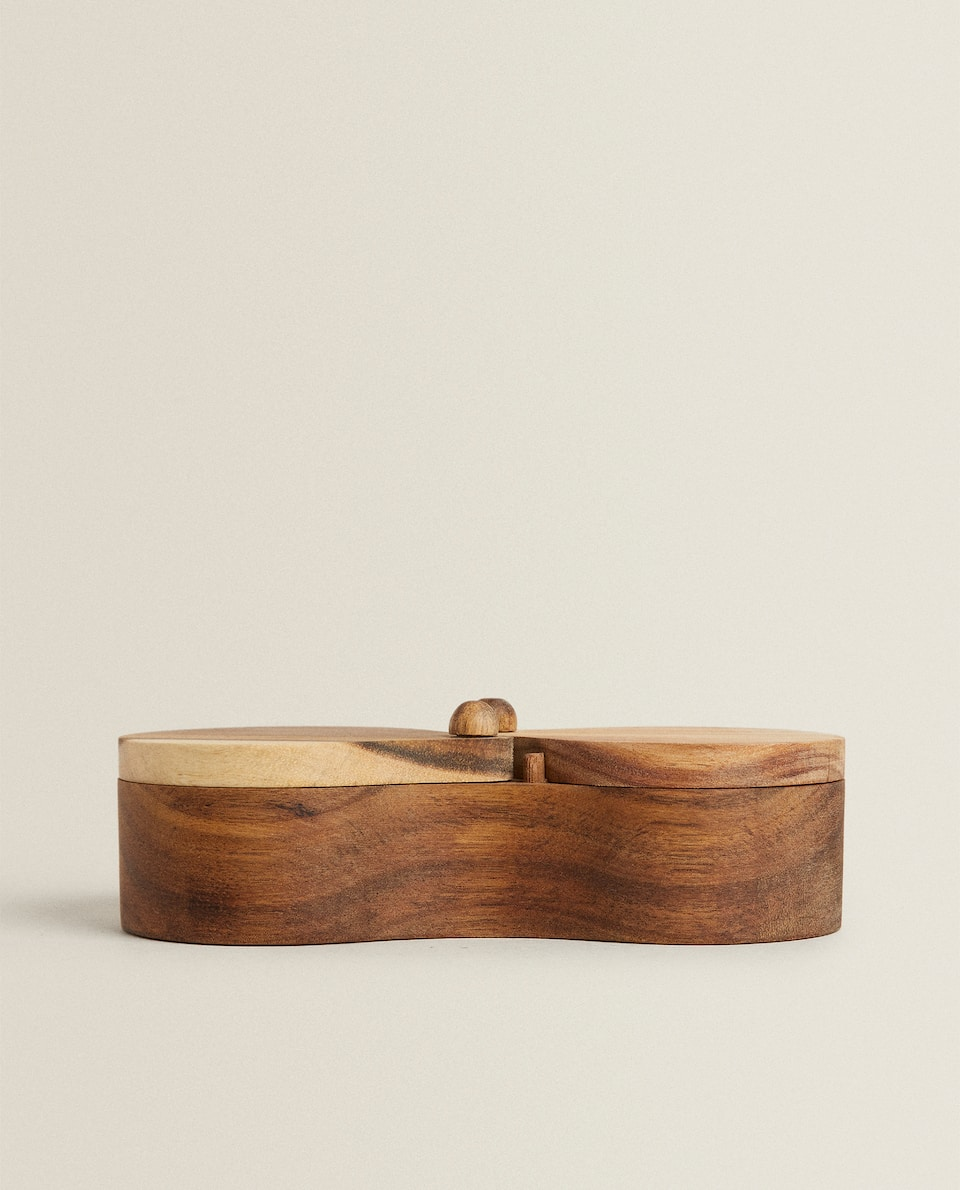 WOODEN DOUBLE SUGAR BOWL
