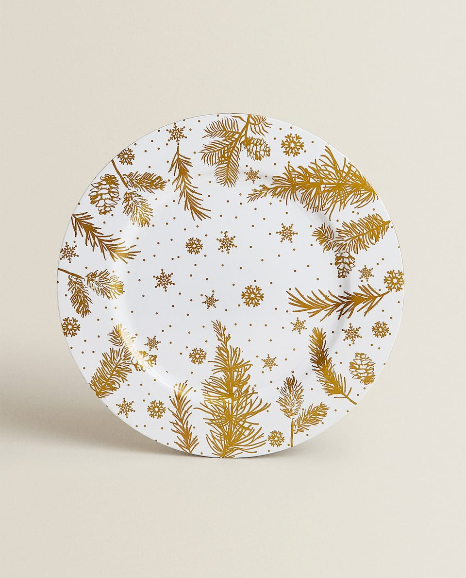 SERVICE PLATE WITH GOLD LEAVES