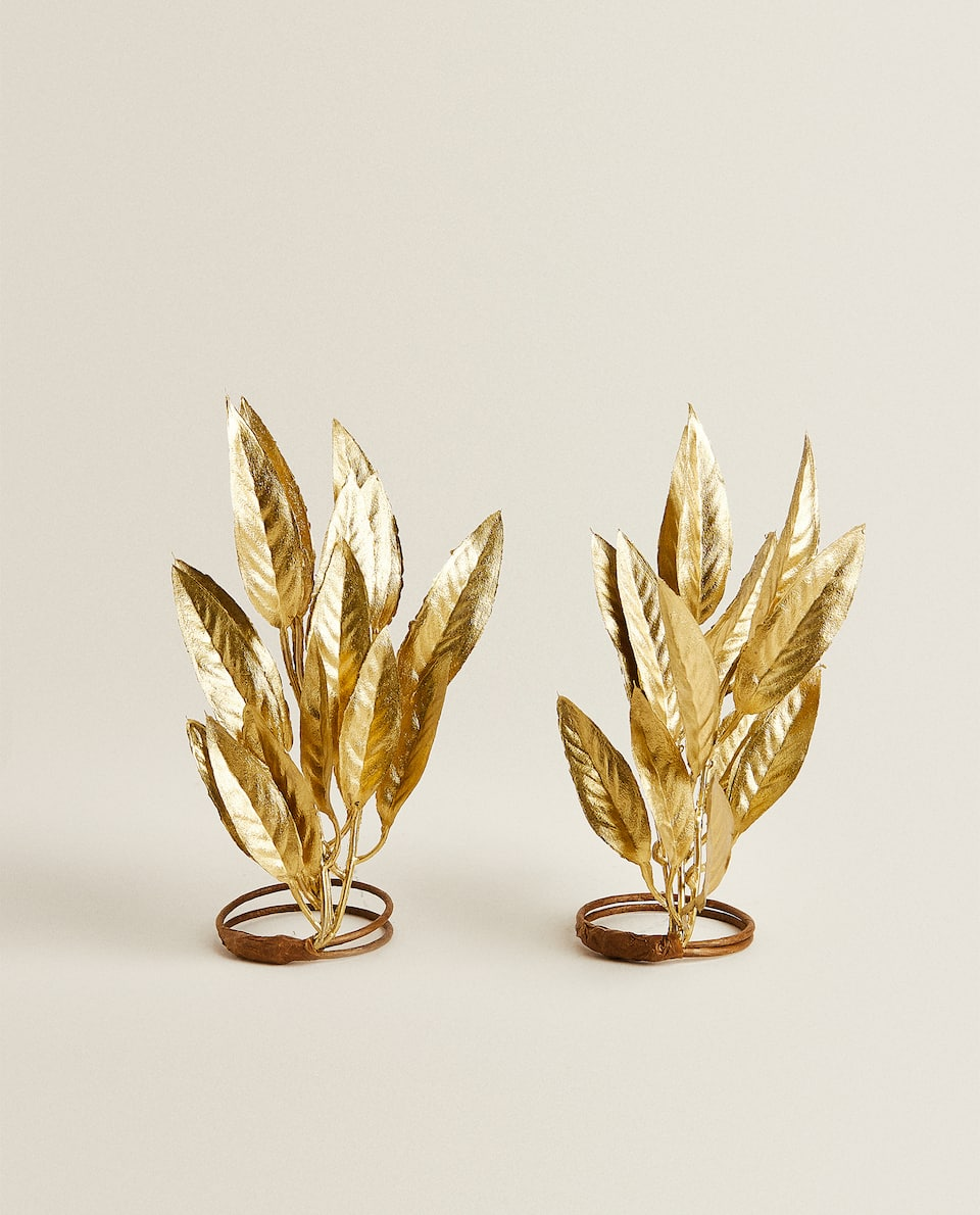 GOLDEN LEAVES NAPKIN HOLDERS (PACK OF 2)