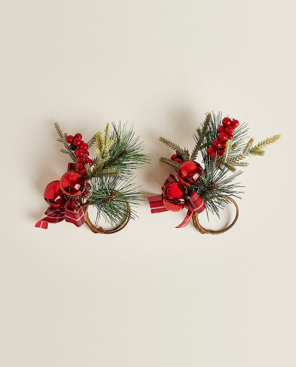 PINE CONE AND SLEIGH BELLS NAPKIN HOLDERS (PACK OF 2)