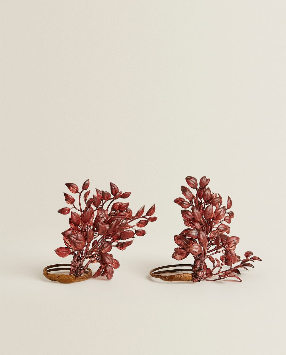 RED PLANT NAPKIN HOLDERS (PACK OF 2)