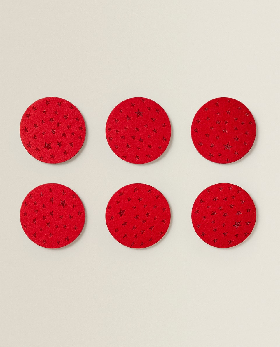 STARS FELT COASTER (PACK OF 6)