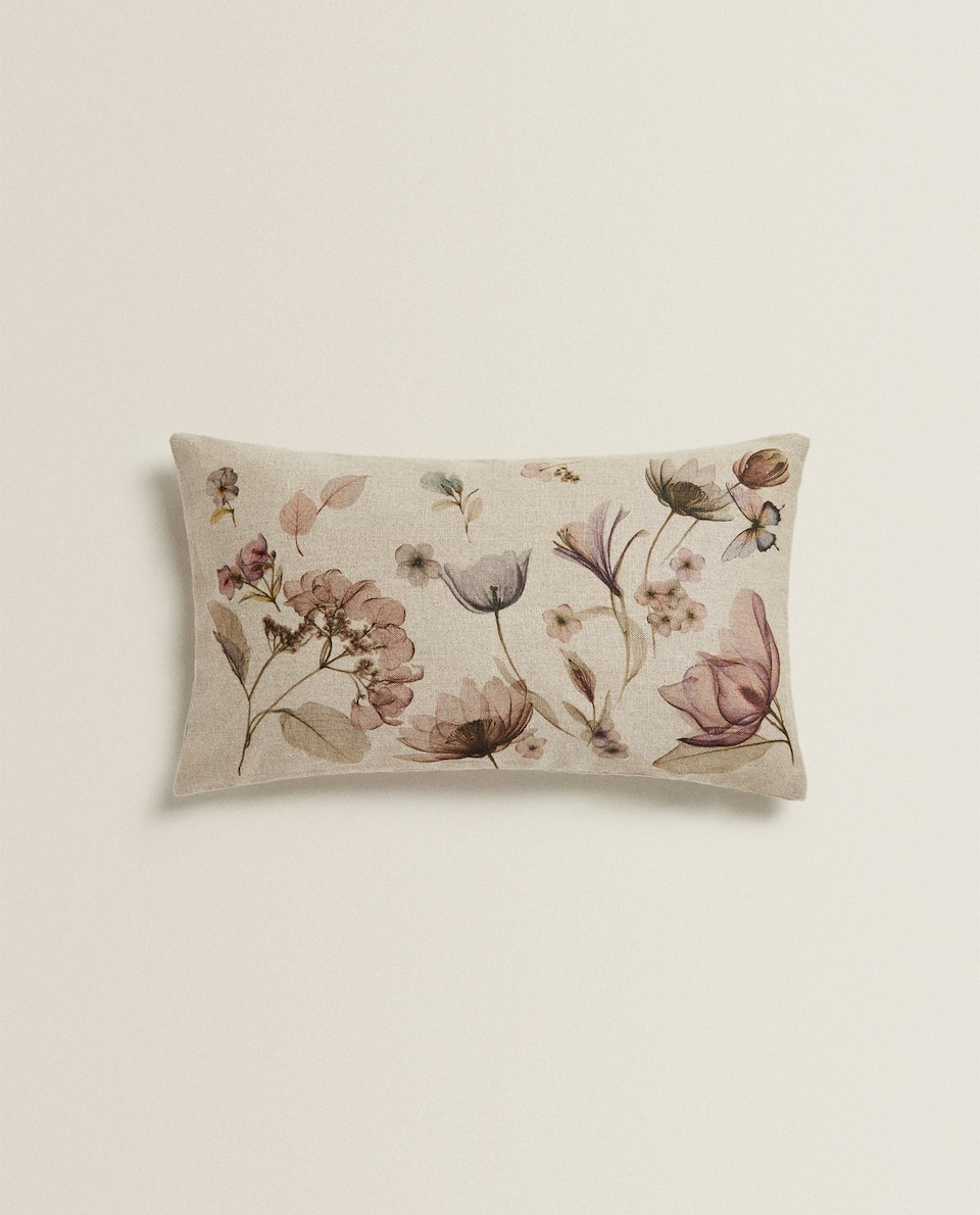 WATERCOLOUR FLORAL PRINT LINEN CUSHION COVER