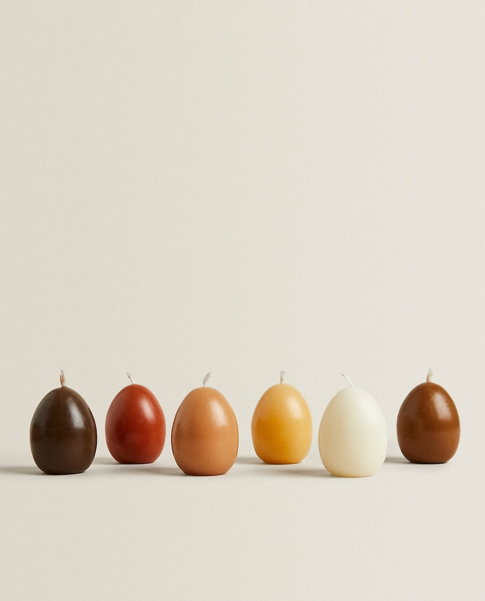 MULTICOLOURED EGG CANDLE (PACK OF 6)