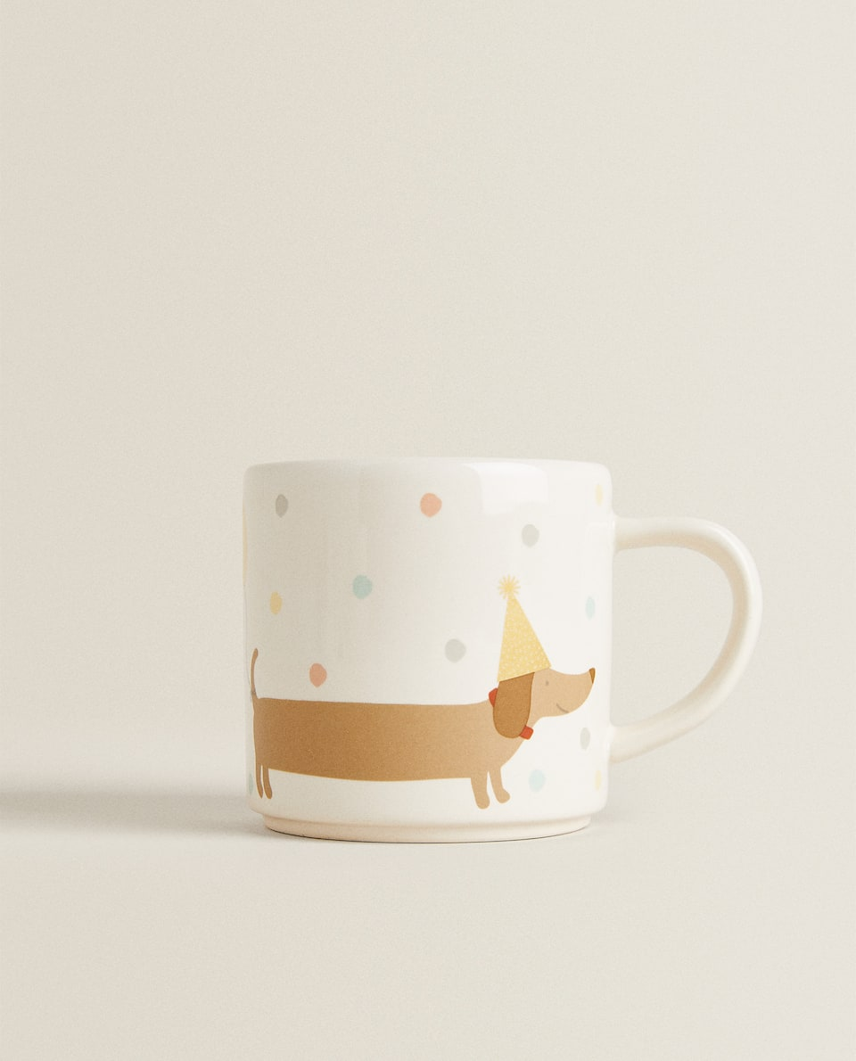 DOG DESIGN EARTHENWARE MUG