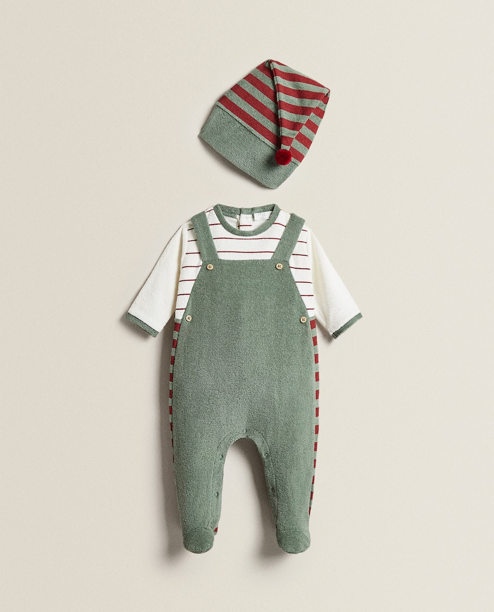 ELF TERRY CLOTH INFANT BODYSUIT AND HAT