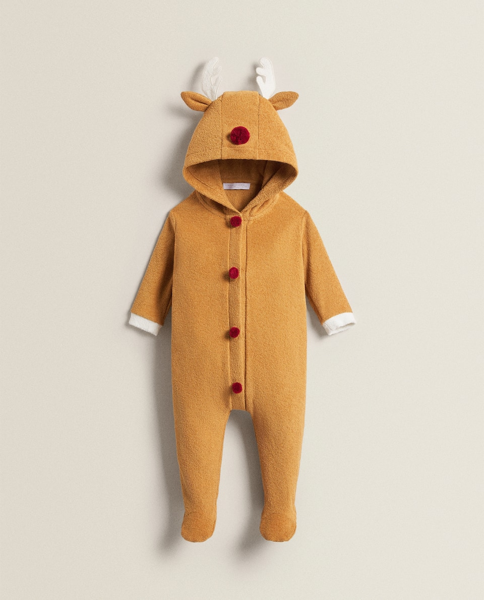 REINDEER TERRY CLOTH BODYSUIT