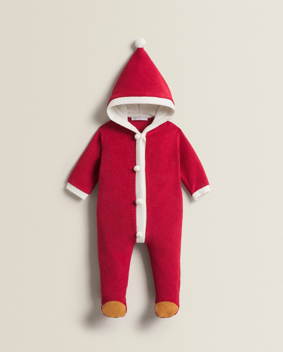 FATHER CHRISTMAS TERRY CLOTH INFANT BODYSUIT