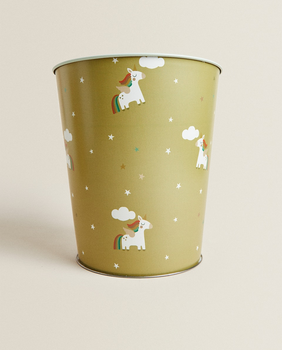METAL UNICORN WASTEPAPER BASKET