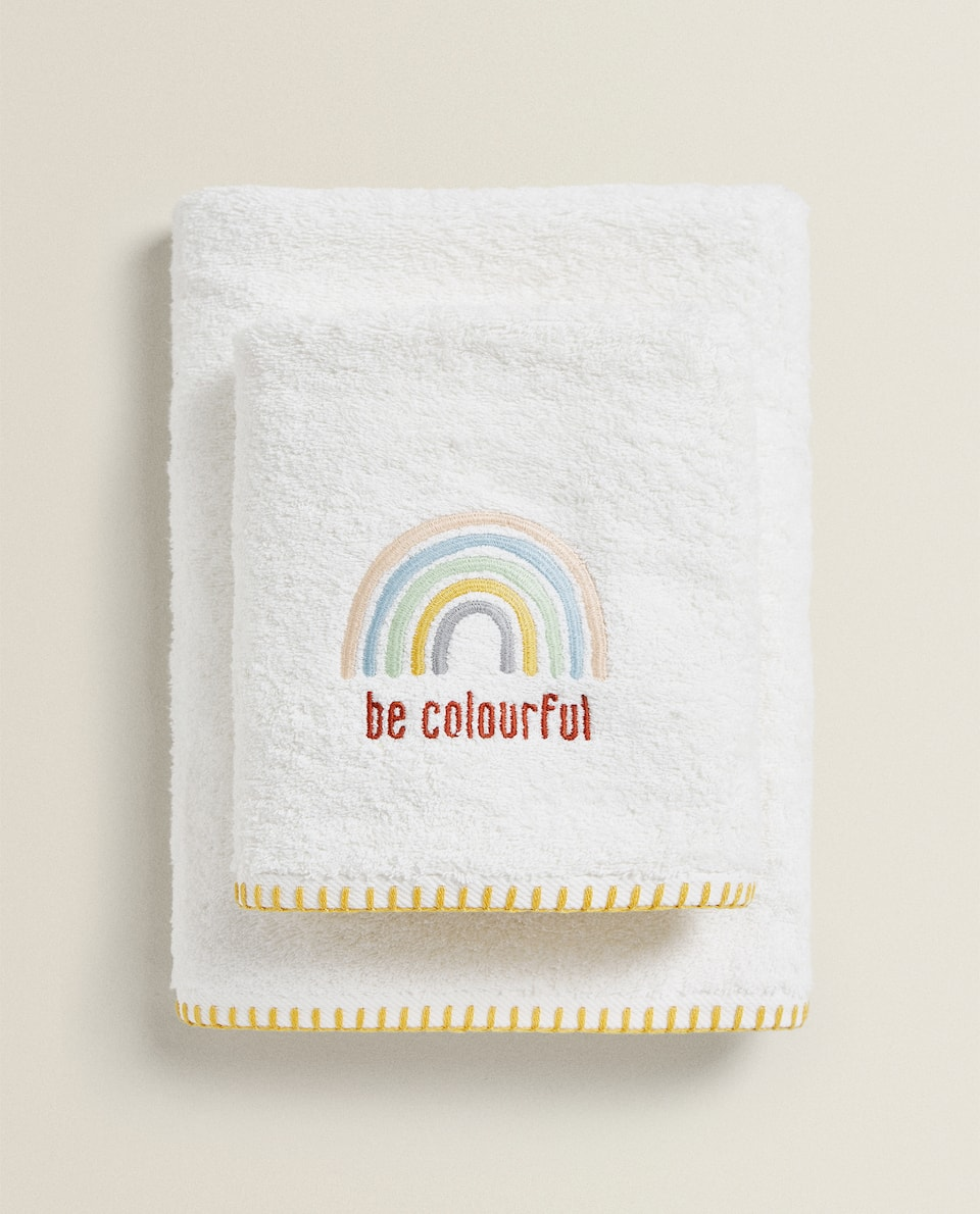 TOWEL WITH EMBROIDERED RAINBOW