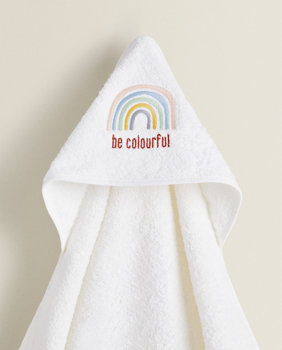 HOODED TOWEL WITH EMBROIDERED RAINBOW