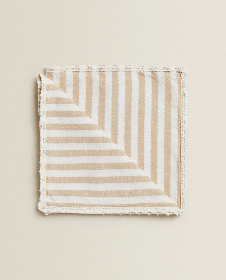 SERVIETTE DE TABLE RAYURES ET DENTELLE (LOT DE 2)