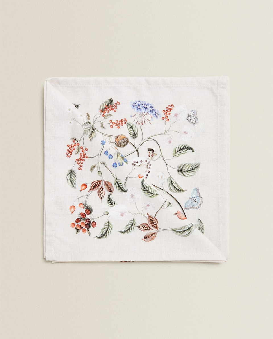 FLOWER AND BRANCH PRINT NAPKIN (PACK OF 2)