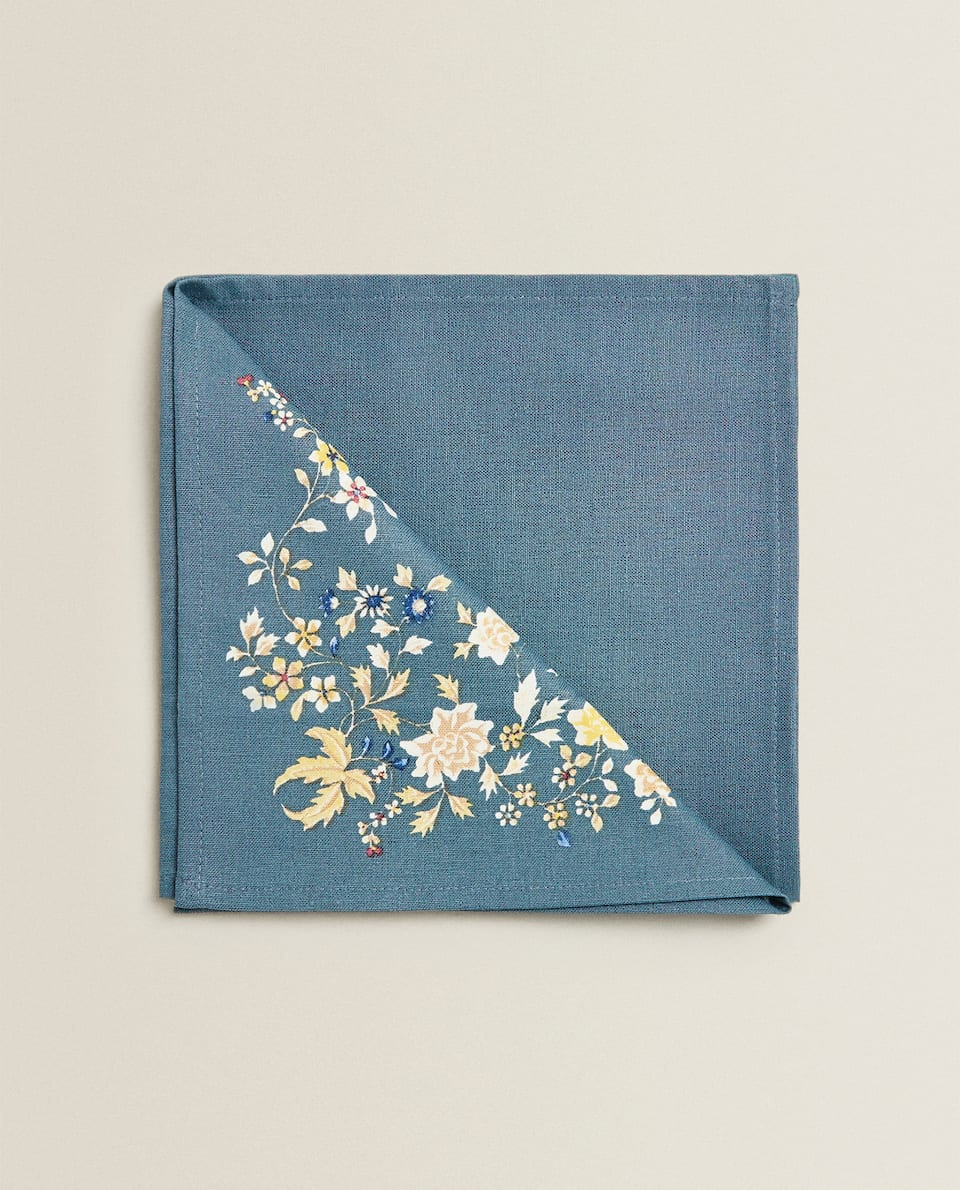 SERVIETTE DE TABLE COTON FLEURS (LOT DE 2)