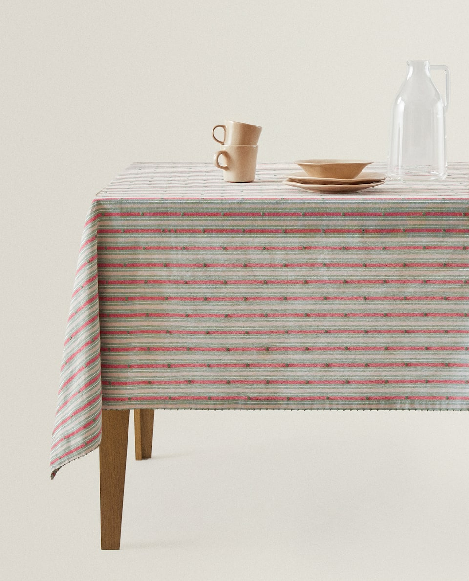 METALLIC THREAD STRIPED TABLECLOTH