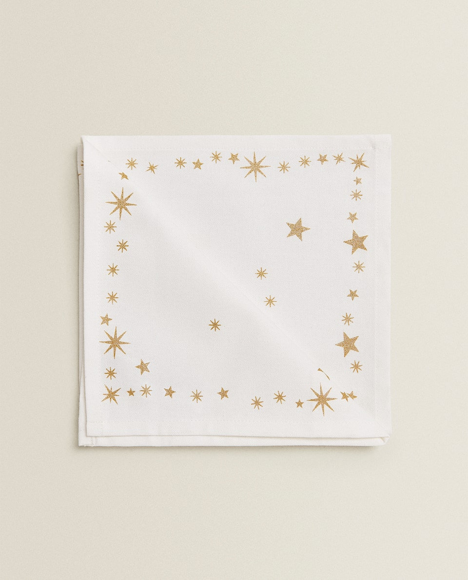 GOLD STAR PRINT NAPKIN (PACK OF 2)