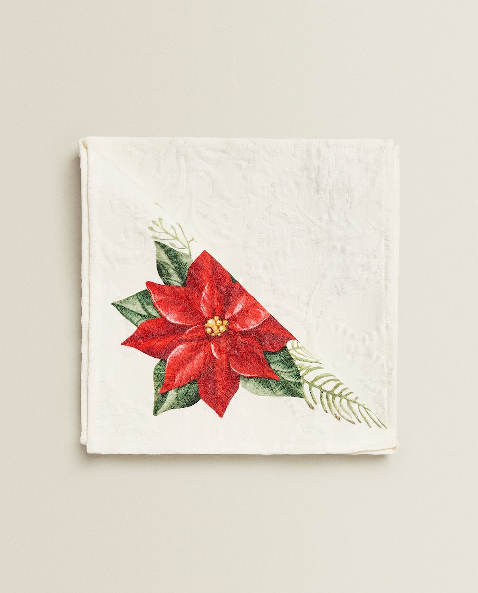 HOLLY-PRINT JACQUARD NAPKIN (PACK OF 2)