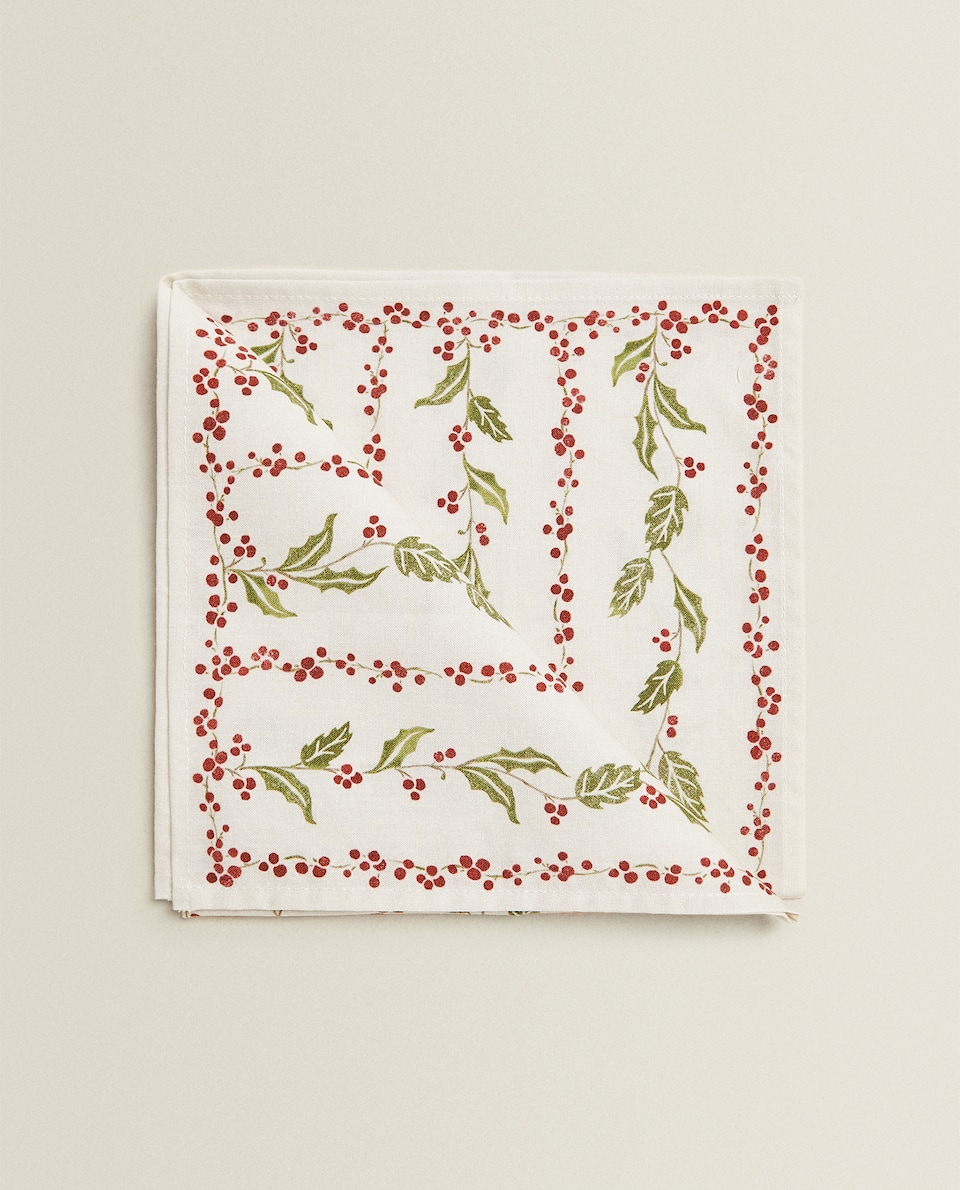 HOLLY-PRINT NAPKINS (PACK OF 2)