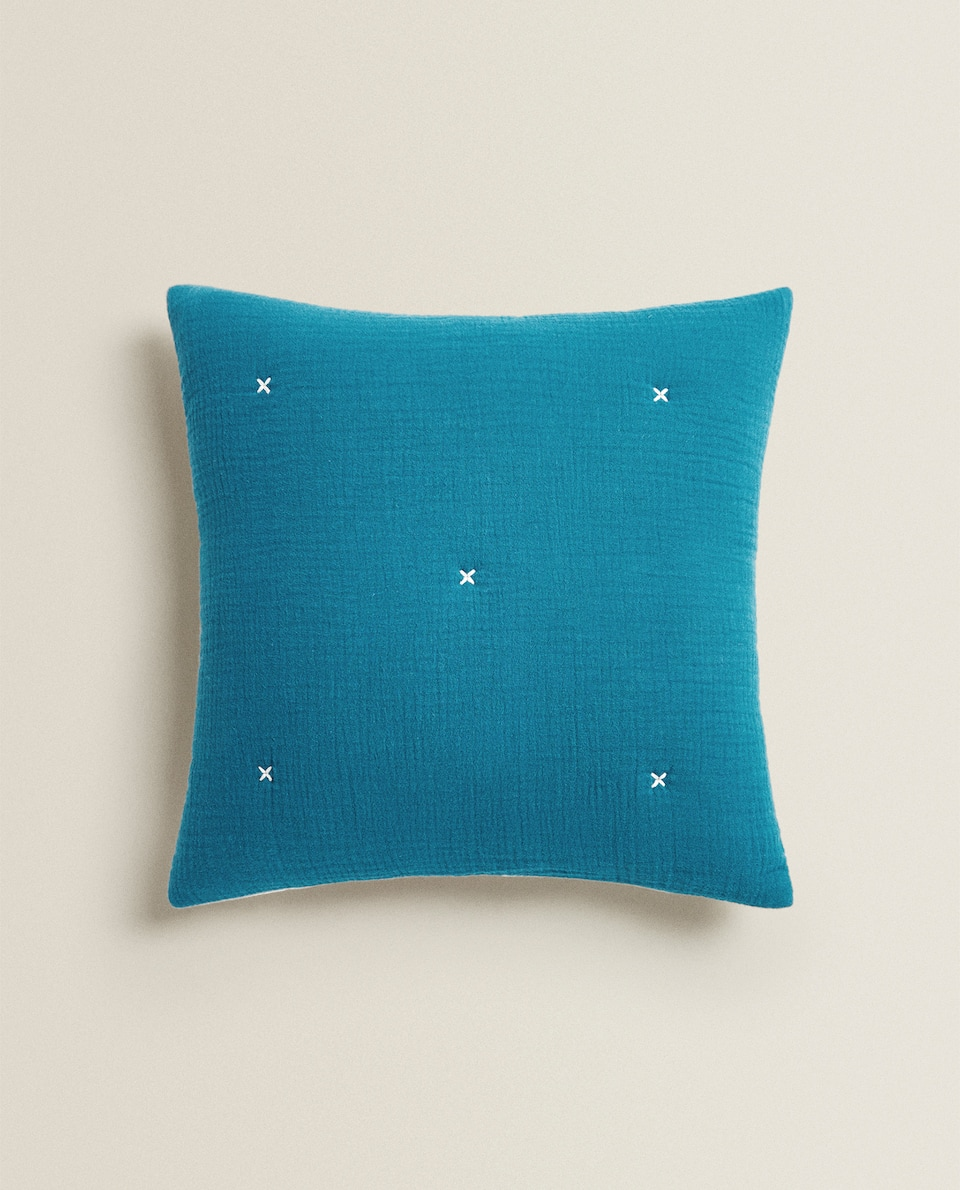 REVERSIBLE MUSLIN AND COTTON JERSEY CUSHION COVER