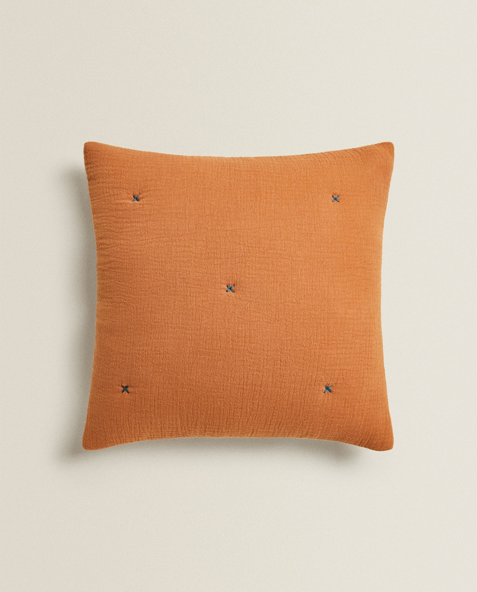 REVERSIBLE CHIFFON AND COTTON JERSEY THROW PILLOW