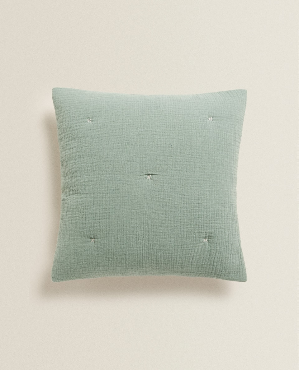 REVERSIBLE CHIFFON AND COTTON JERSEY CUSHION COVER