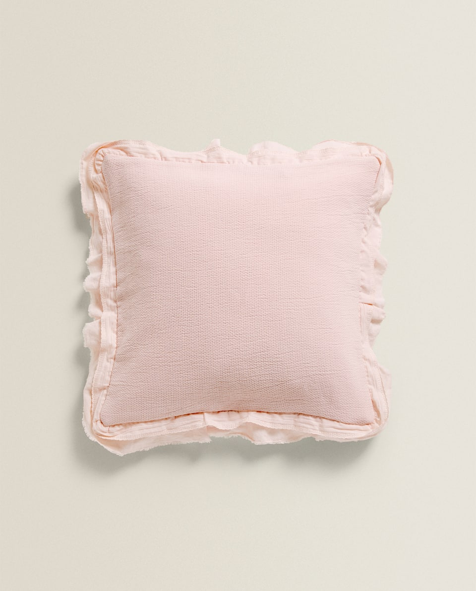 CUSHION COVER WITH RUFFLE TRIMS