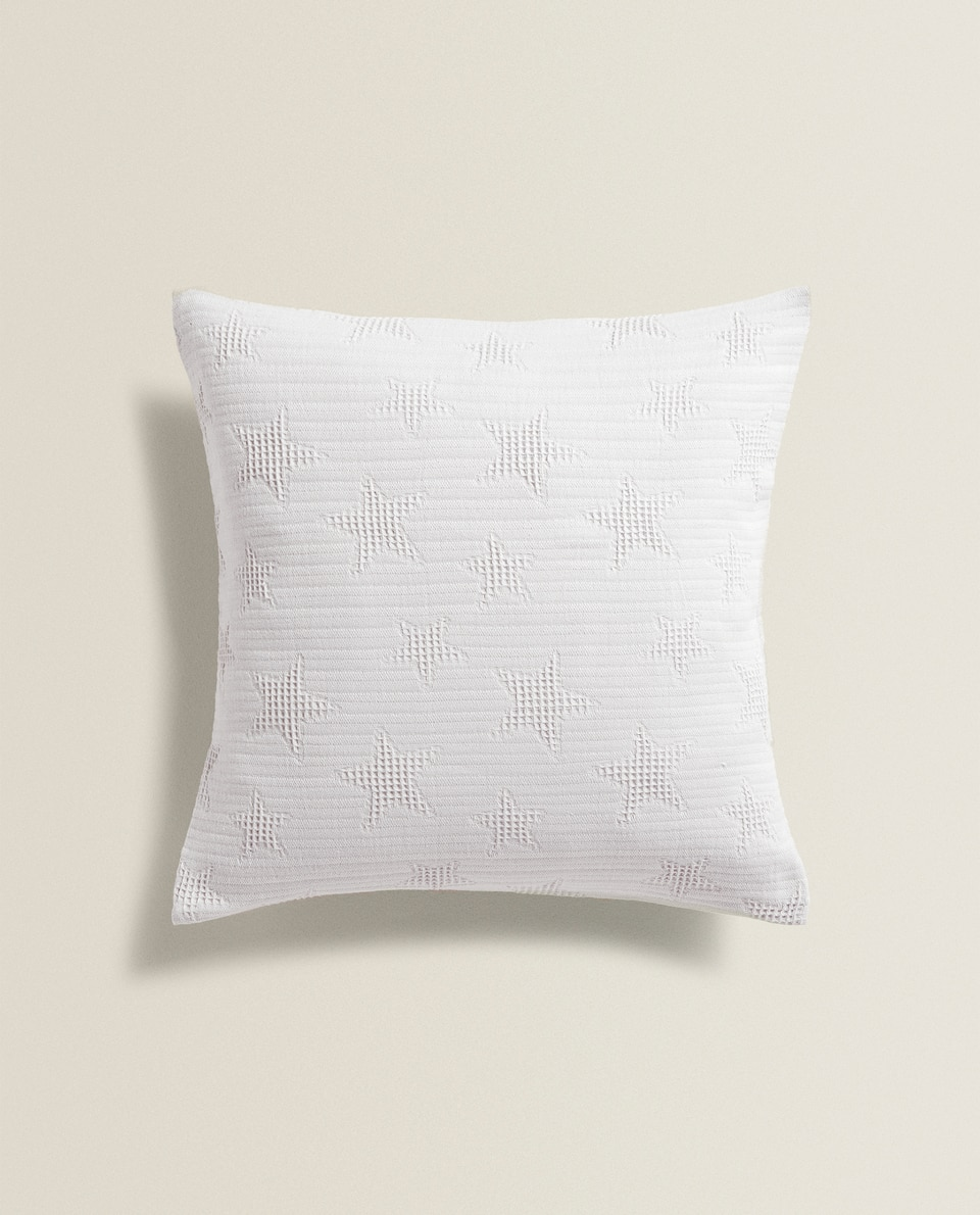 WAFFLE KNIT STARS CUSHION COVER