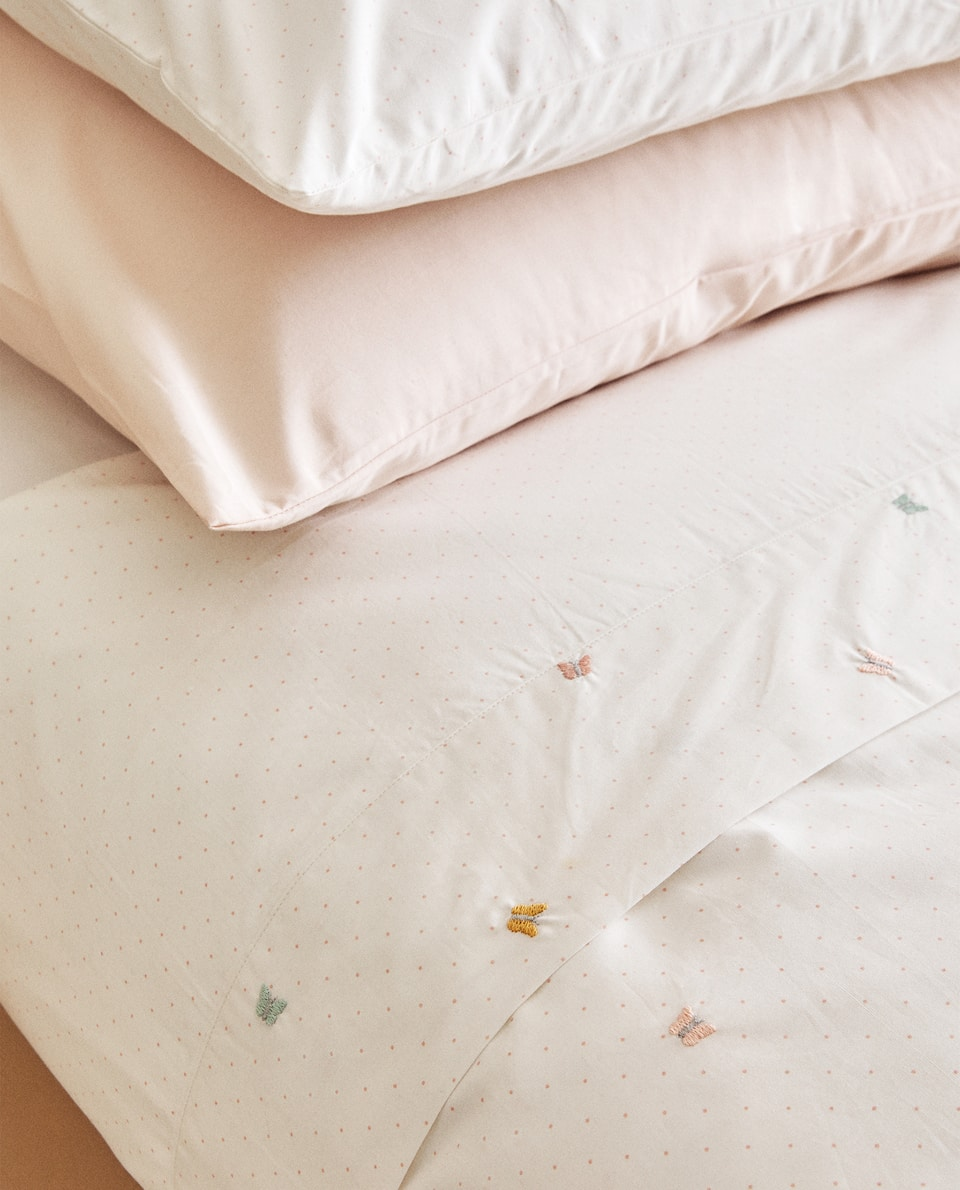 DUVET COVER WITH BUTTERFLY EMBROIDERY