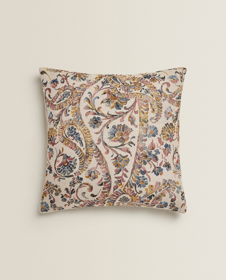 LINEN PAISLEY CUSHION COVER