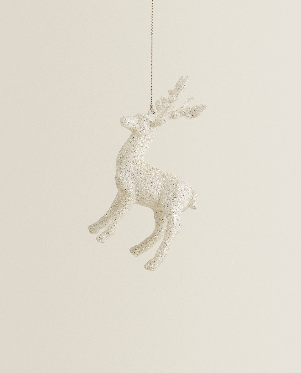 WHITE REINDEER CHRISTMAS DECORATION