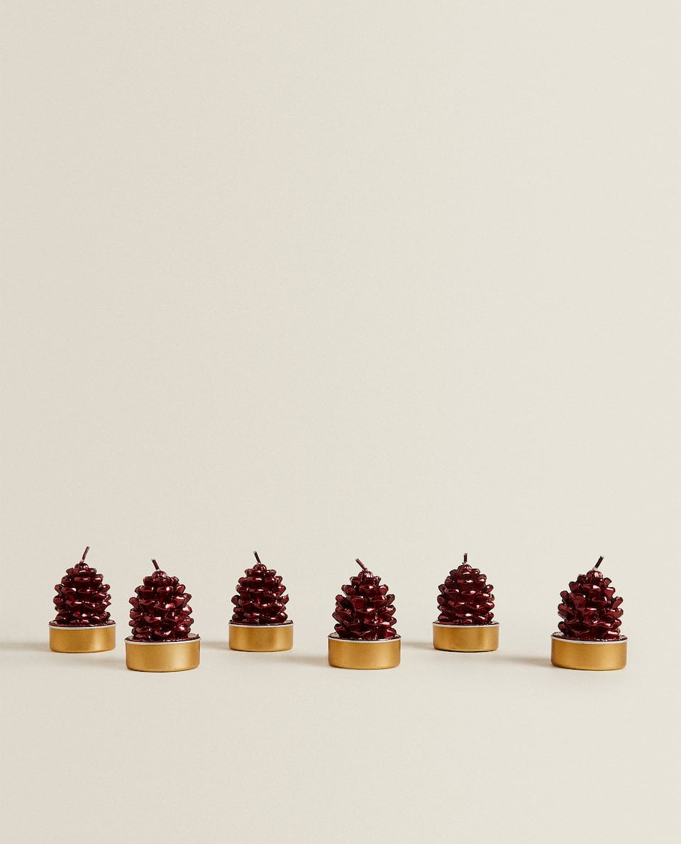 PINE CONE-SHAPED CANDLE (PACK OF 6)